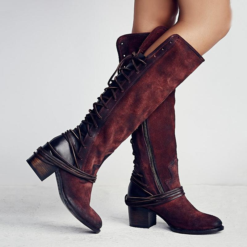 bed50b7f454 Women Vintage Lace Up Boots European Style Bandage Above Knee Boots