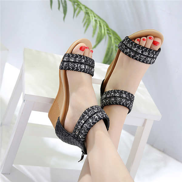 Women Summer  Buckle Strap bling Elegant Wedged Heel pointed Toe shoes