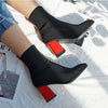 Chelsea Chunky Square High Heel Elegant Slip On Ankle Boots