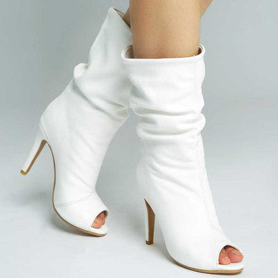 Open Toe High Heel Summer Mid calf Boots for Women