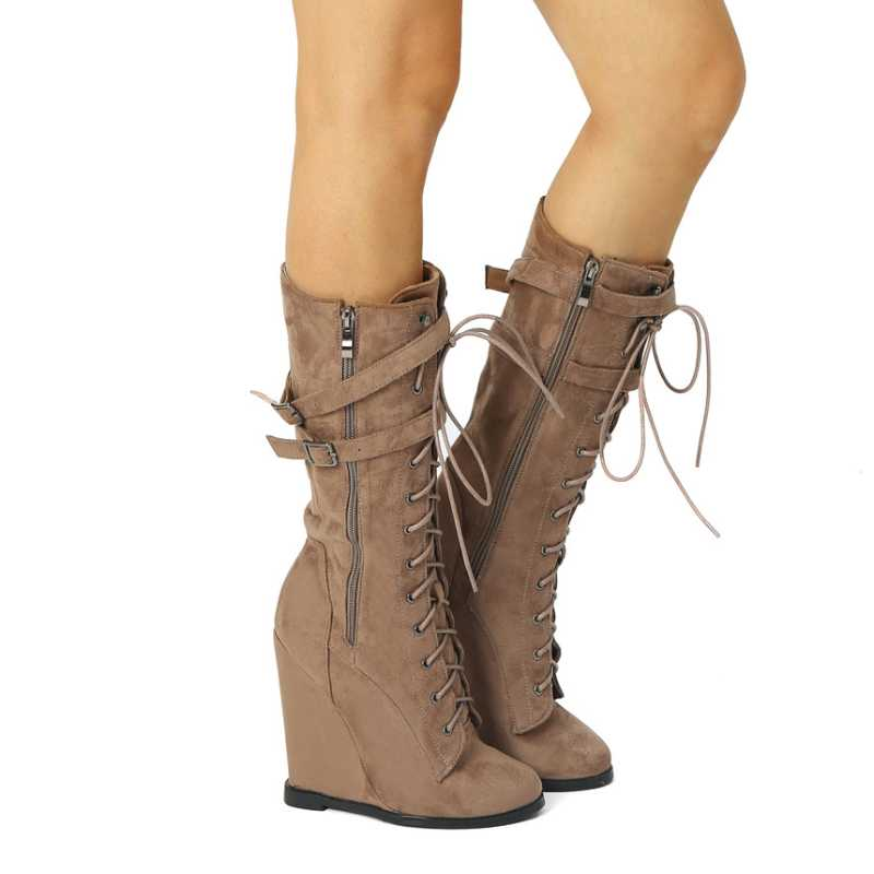 Belt Strap Wedge High Heel Lace Up Knee Boots for Women