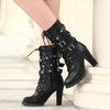 Mid Calf Boots Women Punk Rivet High Heel Shoes bonjomarisa