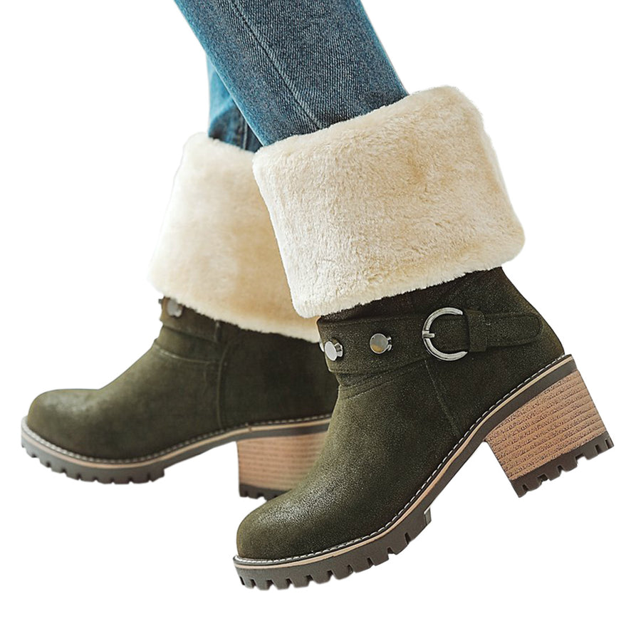 Snow Boots  Buckle  Mid Calf  Fur Woman Shoes  BONJOMARISA
