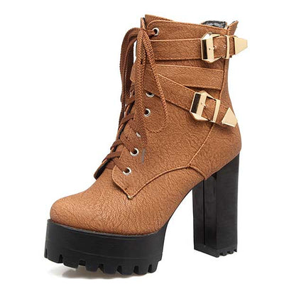Ankle Boots   Buckle Lace Up Shoes Woman BONJOMARISA