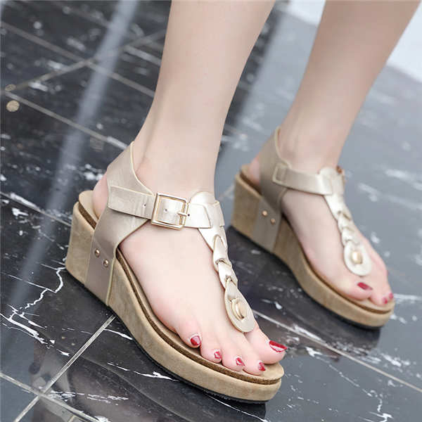 Women Summer metal Decoration Elegant Wedged Heel pointed Toe shoes