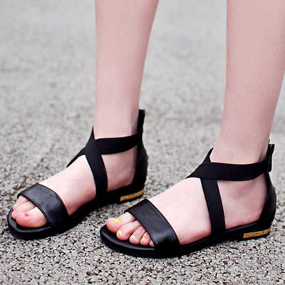 2018  Genuine Leather  Low Heels Sandals  Comfortable Casual Shoes Woman