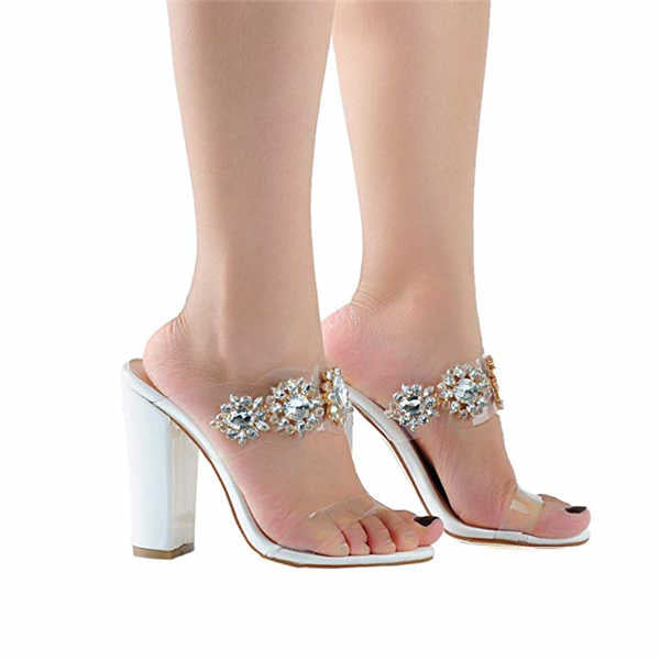 Rhinestone Sweet Flower Edges Women Sandals Chunky High Heel shoes
