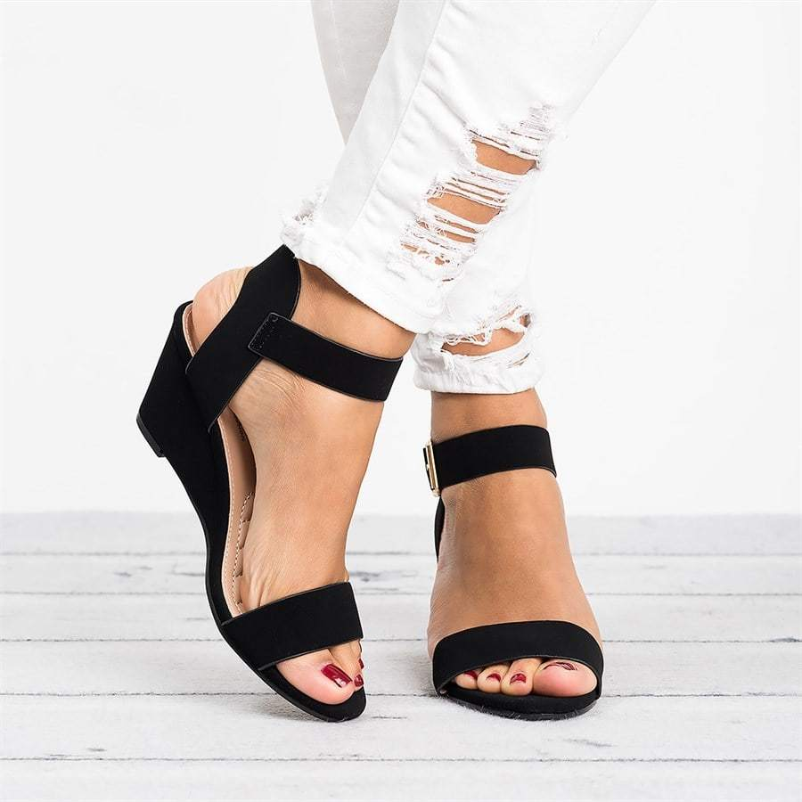 Women Wedge Sandals Ankle Wrap Platform