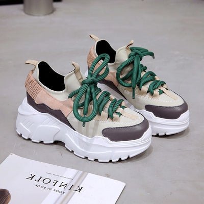 New Fall Winter Platform Sneakers  Height Increasing 7 cm Chunky Shoes
