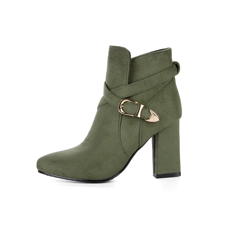 af2db03e8e1 Ankle Boots Buckles High Heels Shoes Woman BONJOMARISA