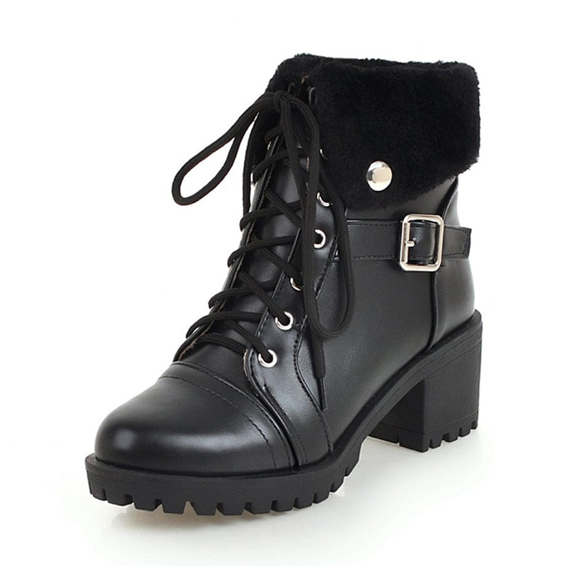 afe799e26fc4d Snow Boots lace-up turned-over Edges Shoes Woman BONJOMARISA