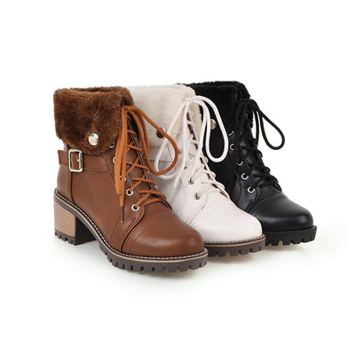 Snow Boots lace-up turned-over Edges  Shoes Woman BONJOMARISA