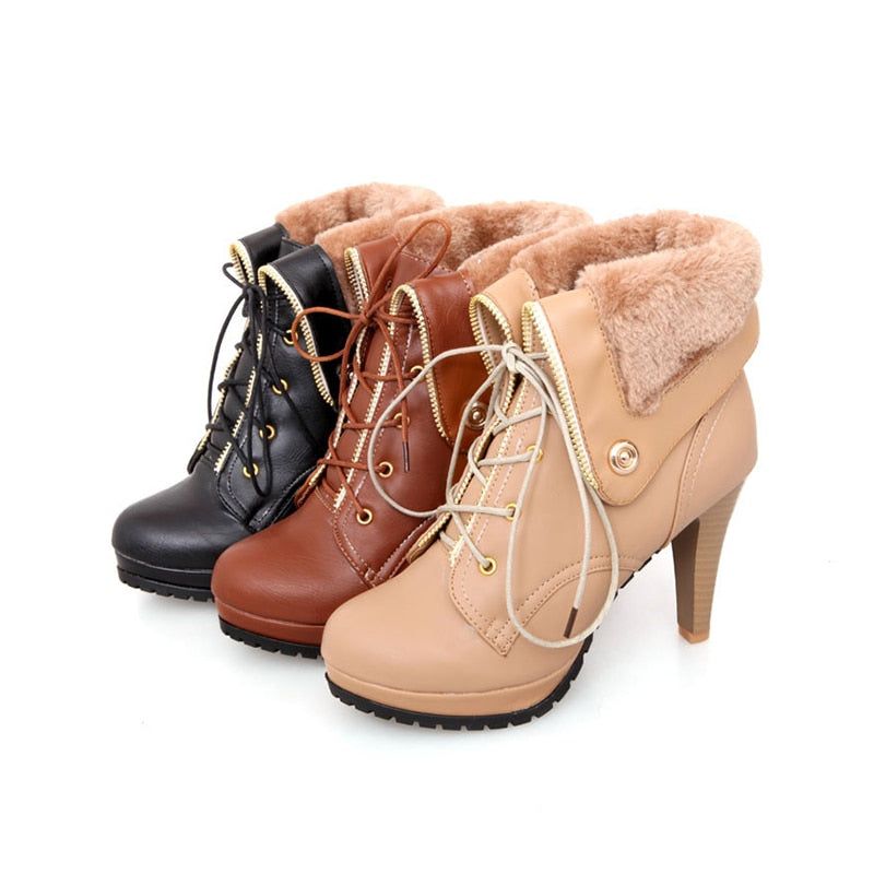 Snow Boots  Rubber Sole High Heels Woman Shoes  BONJOMARISA