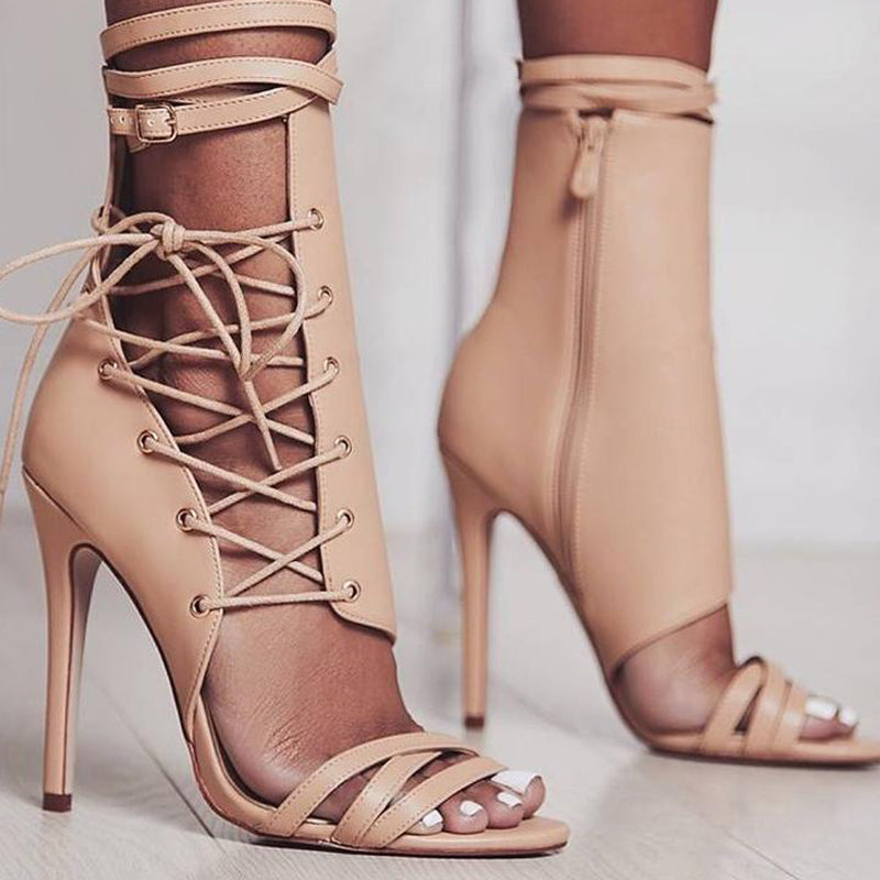 27c3df1cade0e Sexy Gladiator Women Pumps High Heels Peep Toe Lace up Cross-tie High Heels