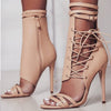 Sexy Gladiator Women Pumps High Heels Peep Toe Lace up Cross-tie High Heels