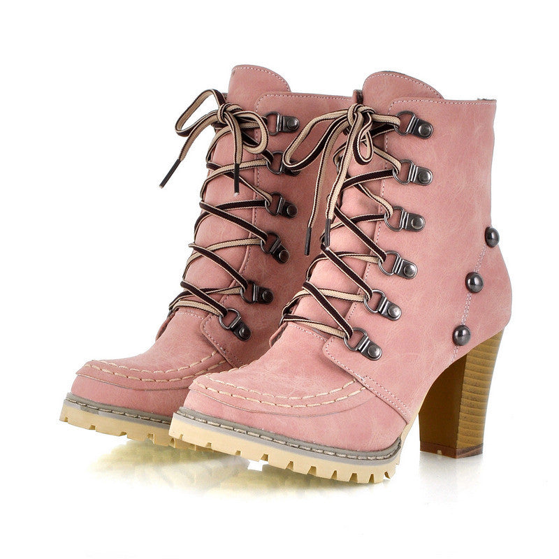 Women Ankle Boots Lace Up Boots Chunky High Heel Platform Rivet