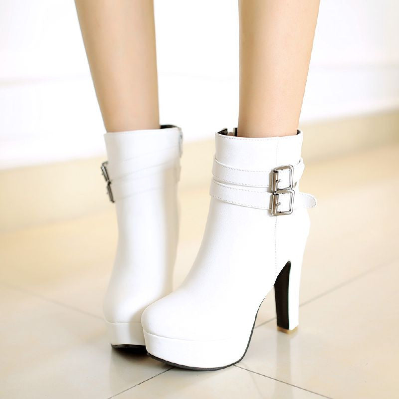 Vintage Zipper Buckle Belts Platform High Heel Ankle Woman Riding Boots