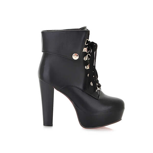 lace up thin high heel platform Metal Decoration ankel boots