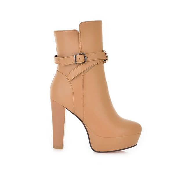 Buckle Strap chunky high heel pointed toe platform ankel boots