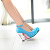 Flower Wedges Ankle Strap Platform Pumps Shoes Footwear