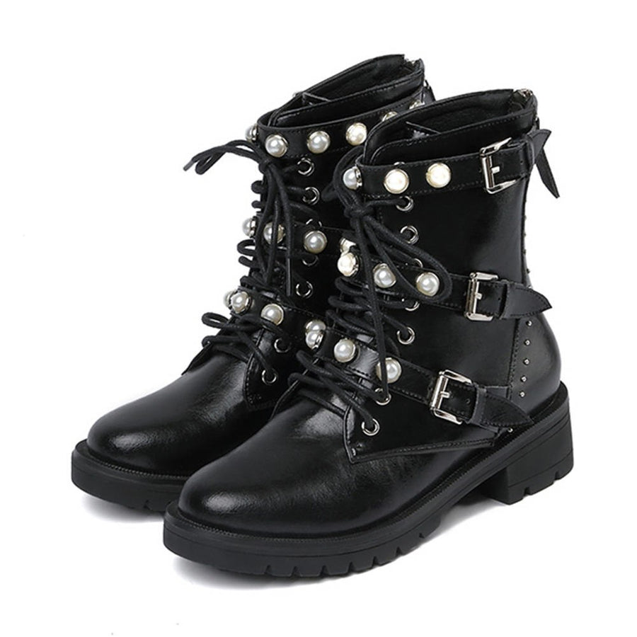 Genuine Leather Martin Boots Pearls Women Shoes Casual Shoes Ankle Boots