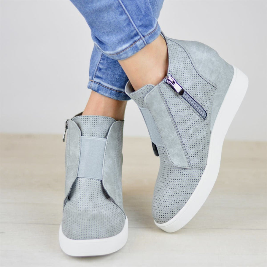Women Fashion Sneakers Comfort Zipper Wedge Sneakers Wedges with Side Zipper