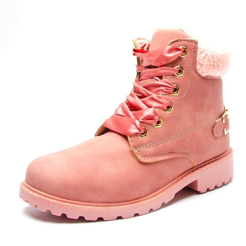 british Lace up Solid Casual Ankle Boots snow boots