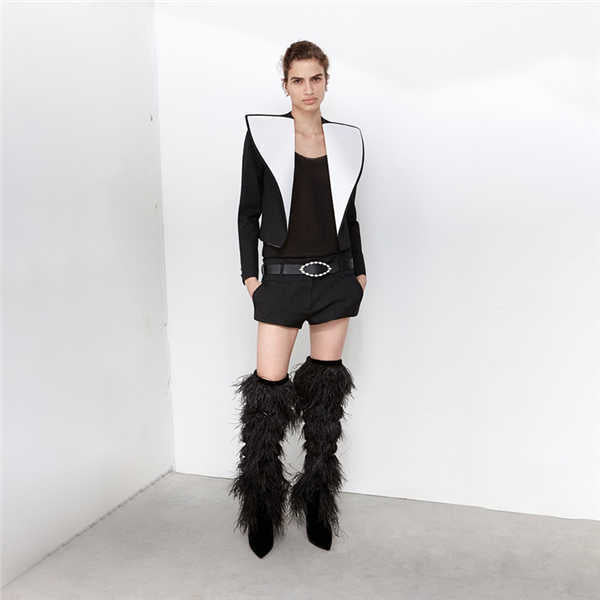 Fringes Sexy feather Over The Knee Boots Woman Shoes