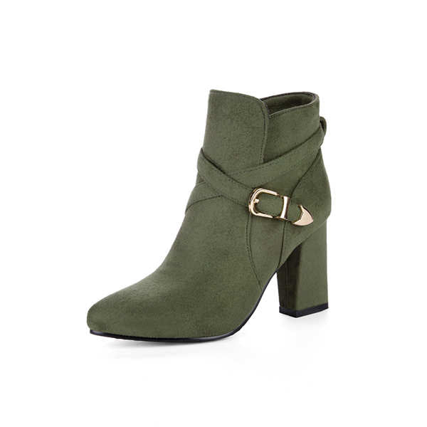 Buckle Strap chunky high heel pointed toe  ankel boots