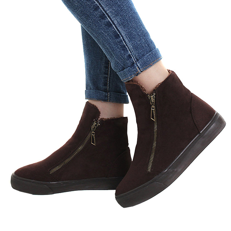 Women's Winter Ankle Boots Female Zipper Flock Platform Snow Boot Ladies Plush Sneakers Casual Flat Shoes Woman Footwear