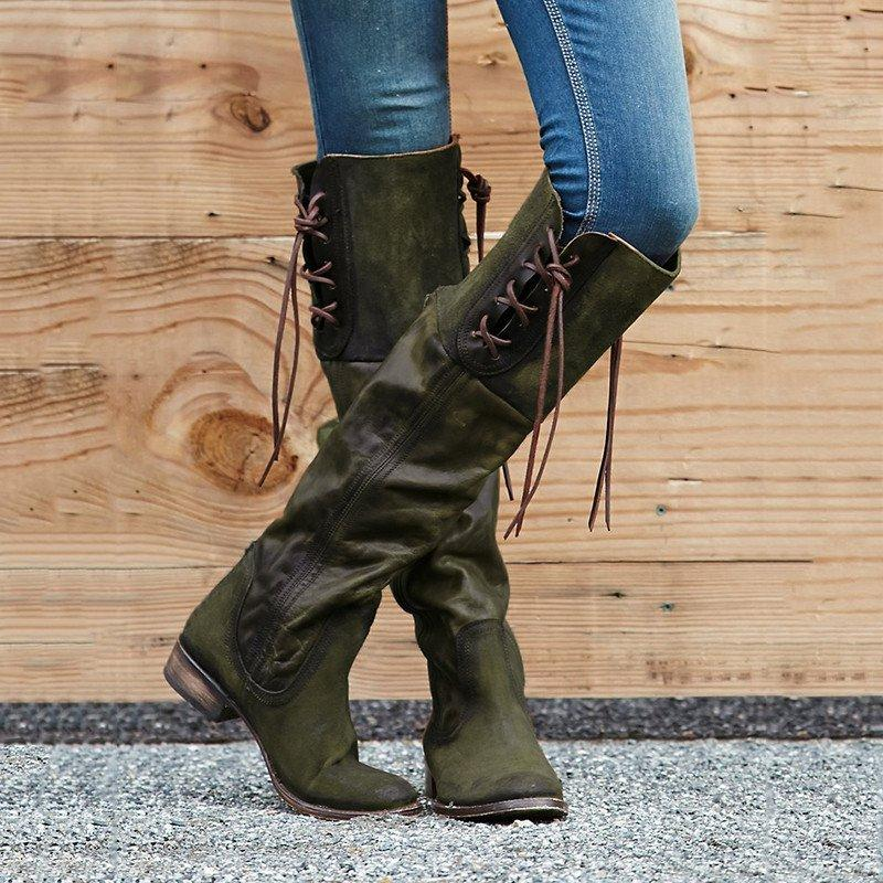 Lace-up Low Heel Boots Vintage PU with Back Zippers Winter Boots