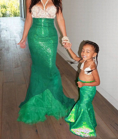 Princess Ladies kids girl Halloween cosplay Costume Fancy Party Sequins  Maxi Tail long green Skirt adult 1b97901a9458
