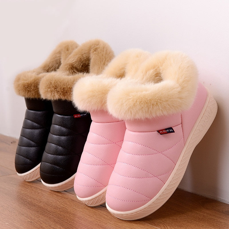 Women Cotton Boots Waterproof Winter Warm Fur Ankle Boots Couple Thick Soled Warm Shoes Woman Flats Botas Mujer Zapatos