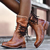 Women Mid Calf Boots Back Zipper Vintage Boots Lace-Up Holiday