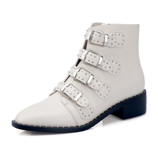 Cow Leather  Rivets Ankle Elegant  martin Boots Woman