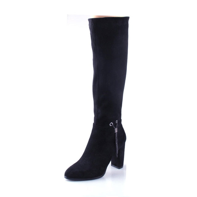 Cow Suede  Chunky Heels Zip Up Knee High Boots Woman Shoes