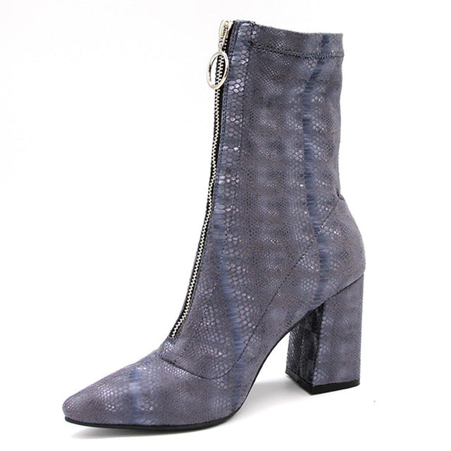 Sexy High Heel zip up best quality customized  ankle boots