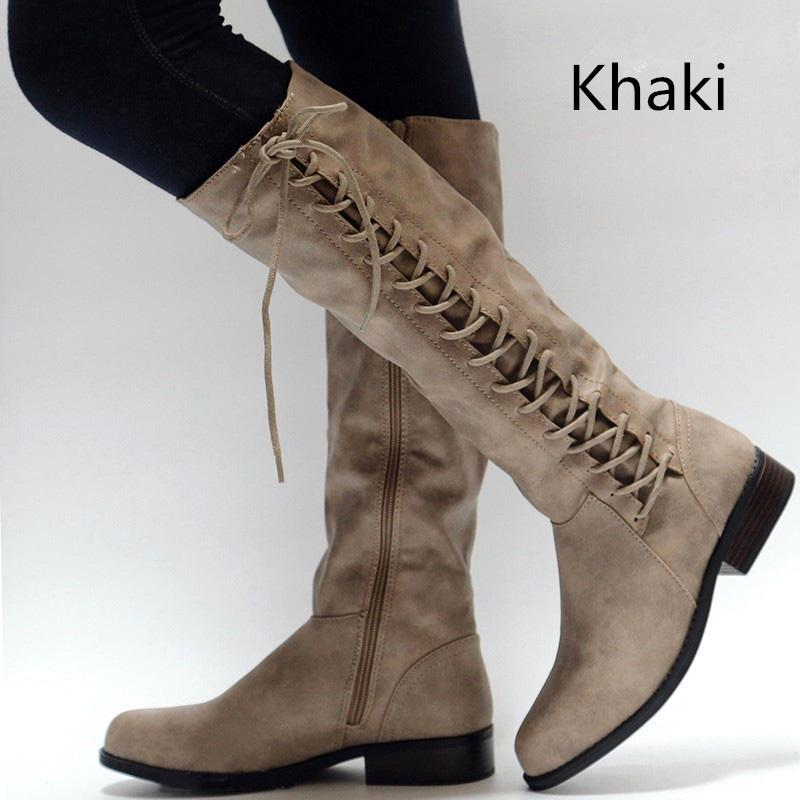 Womens Casual Chunky Heel Lace-up PU Knee Boots