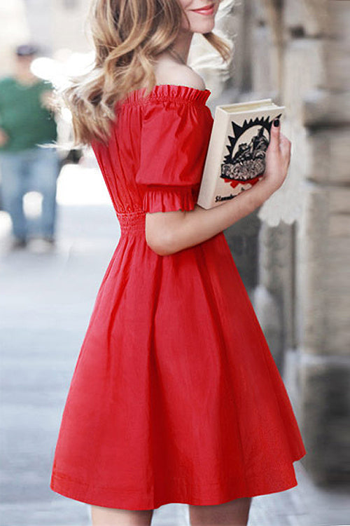 Red Off the Shoulder Ruffle Mini Dress