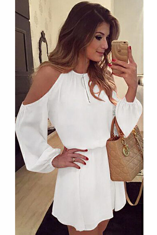 Cold Shoulder Puff Sleeve Mini Dress