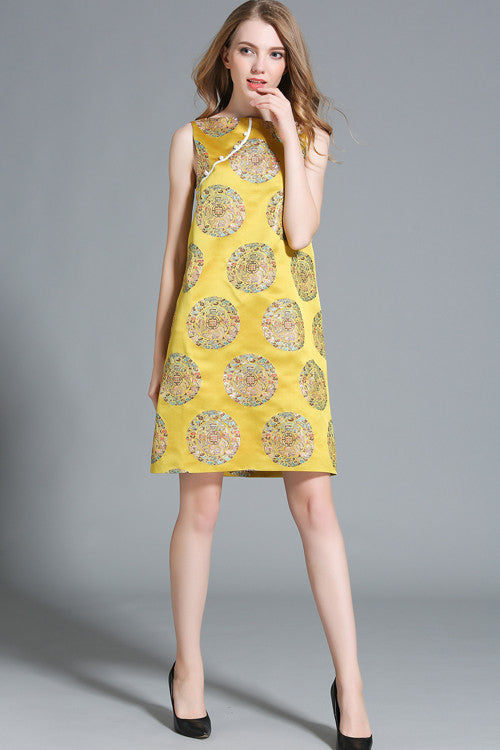 Chinese Style Side Scallop Skater Dress