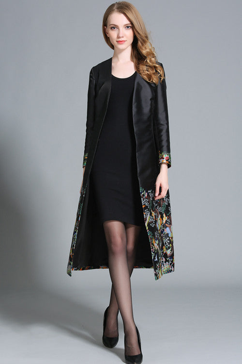 Stand Collar Long Sleeve Embroidered Coat