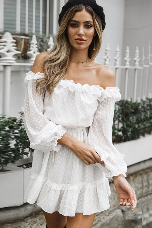 Lovely Vibes Puff Sleeve Ruffle Dress