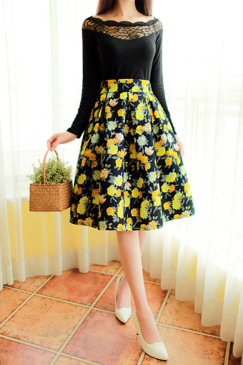 Retro Floral Print Flare Skirt