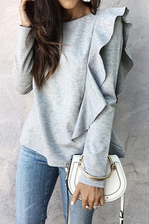 Kick It Grey Long Sleeve Ruffle Top