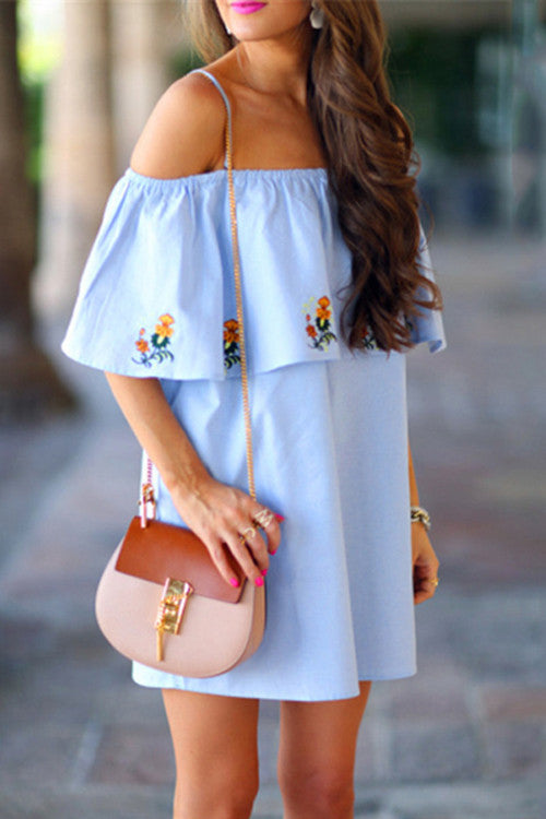 Ruffle Sleeve Floral Embroidery Slip Dress