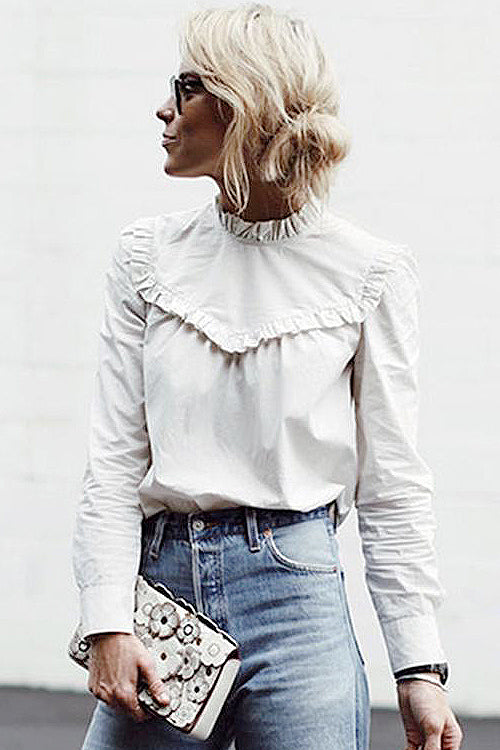 Ruffle Hem High Neck White Shirt