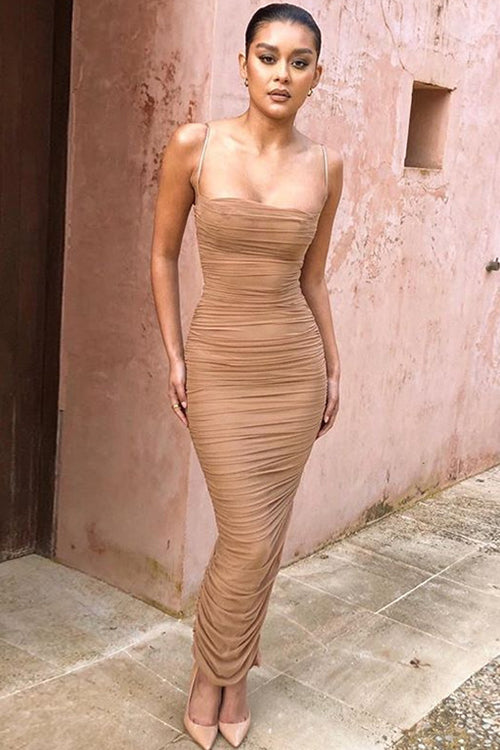 Fabulous Pleated Side Slit Maxi Dress