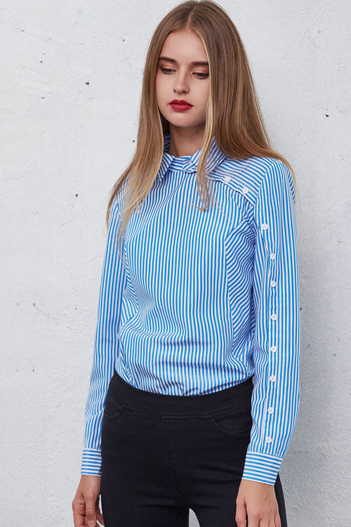 Blue Stripe Side Button Shirt