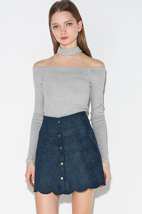 Scalloped Side A-line Button Mini Skirt
